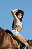 Young attractive  woman and horse Royalty Free Stock Photos