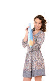 Young attractive woman with huge blue pencil Royalty Free Stock Image