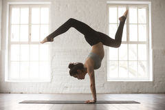 Free Young Attractive Woman In Adho Mukha Vrksasana Pose, White Studi Stock Photo - 89688270