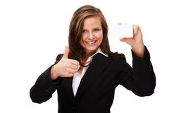 Businesswoman holding blank card showing OK sign Stock Photos