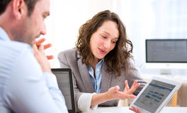Young attractive woman during job interview Stock Image