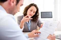 Young attractive woman during job interview Royalty Free Stock Photography