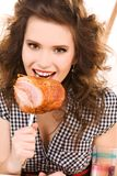 Young attractive woman in the kitchen Royalty Free Stock Photo