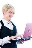 Young attractive woman with laptop Stock Images
