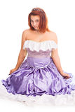 Young attractive woman in lilac-coloured ball dress Royalty Free Stock Images