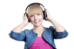 Young attractive woman listing to music Stock Photography