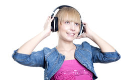 Young attractive woman listing to music Stock Photos