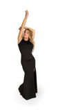 Young attractive woman in long evening black dress Stock Images