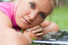 Young attractive woman at the park Stock Photos