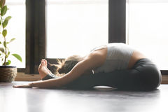 Young attractive woman in paschimottanasana pose, home interior Royalty Free Stock Image