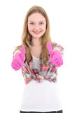 Young attractive woman in pink rubber gloves thumbs up isolated Stock Photo