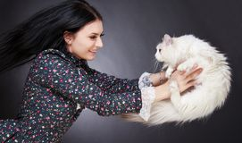 Young attractive woman playing with a cat Royalty Free Stock Images
