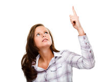 Woman pointing isolated on white background Stock Photos