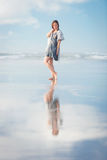 Young attractive woman posing at amazing New Zealand beach Royalty Free Stock Image