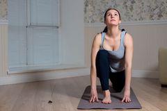 Young attractive woman practicing yoga, sitting, wearing sportswear, meditation session, home interior. Young attractive woman practicing yoga, sitting, wearing stock photo