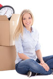 Young attractive woman ready for moving day isolated on white Stock Photography