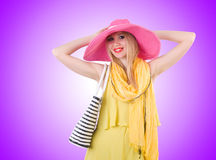 Young attractive woman ready for summer vacation Royalty Free Stock Images