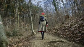Young attractive woman with red hat wanders in forest. Young attractive woman with red hat and red skirt wanders along pathway leading trough thick forest stock video footage