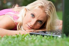 Young attractive woman relax at the park Stock Photos