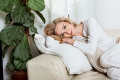 Young attractive woman relaxing at home Royalty Free Stock Photo