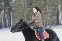 Young attractive woman riding on black horse in snowy forest. Telephoto shot Stock Photo