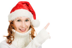 Young attractive woman in a Santa hat  Royalty Free Stock Image