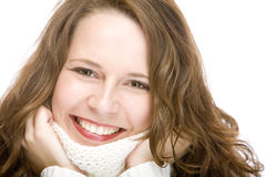 Young attractive woman with scarf is smiling happy Stock Images