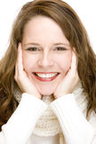 Young attractive woman with scarf is smiling happy Royalty Free Stock Photo