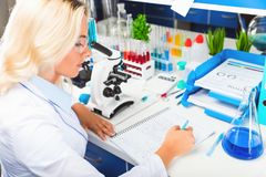 Young attractive woman scientist researching in the laboratory Royalty Free Stock Photography