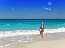 The young attractive woman on the sea coast Royalty Free Stock Photography