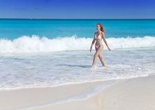 The young attractive woman on the sea coast Royalty Free Stock Image