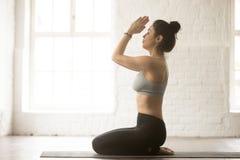 Young attractive woman in seiza pose, white loft studio backgrou Stock Photo