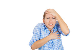 A young attractive woman in shock and humiliation Royalty Free Stock Photography