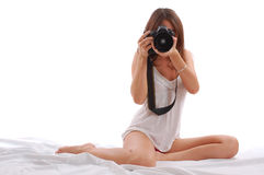 Young attractive woman shooting Royalty Free Stock Image