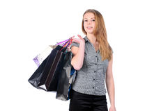 Young attractive woman shopping Stock Photos