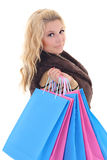 Young attractive woman after shopping Royalty Free Stock Images