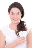 Young attractive woman showing package of pills isolated on whit Stock Photos