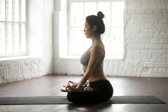 Young attractive woman sitting in Lotus pose, white loft studio Royalty Free Stock Photo