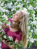 Young attractive woman standing near the blossoming apple tree. Royalty Free Stock Images