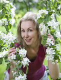 Young attractive woman standing near the blossoming apple tree. Stock Image