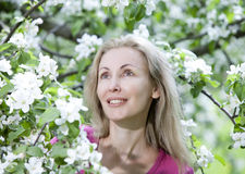 Young attractive woman standing near the blossoming apple tree Royalty Free Stock Photos