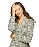 A young attractive woman suffering headache royalty free stock photos