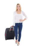 Young attractive woman with suitcase isolated on white Stock Image