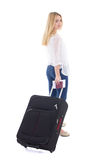 Young attractive woman with suitcase, passport and ticket isolat Stock Photos