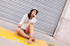 Young attractive woman in summer trendy fashion Stock Photo