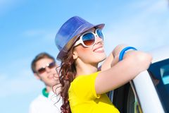 Young attractive woman in sunglasses Stock Photography