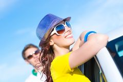 Young attractive woman in sunglasses Stock Photos