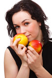 Young attractive woman with two red apple Royalty Free Stock Photo