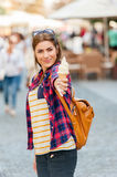 Young attractive woman visit city Royalty Free Stock Image