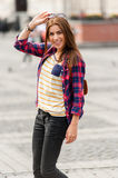 Young attractive woman visit city Royalty Free Stock Photo